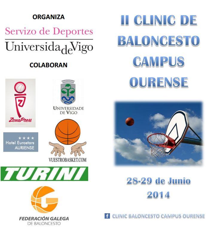 Tríptico del II Clínic de Baloncesto Campus de Ourense, en el que fuimos Colaboradores