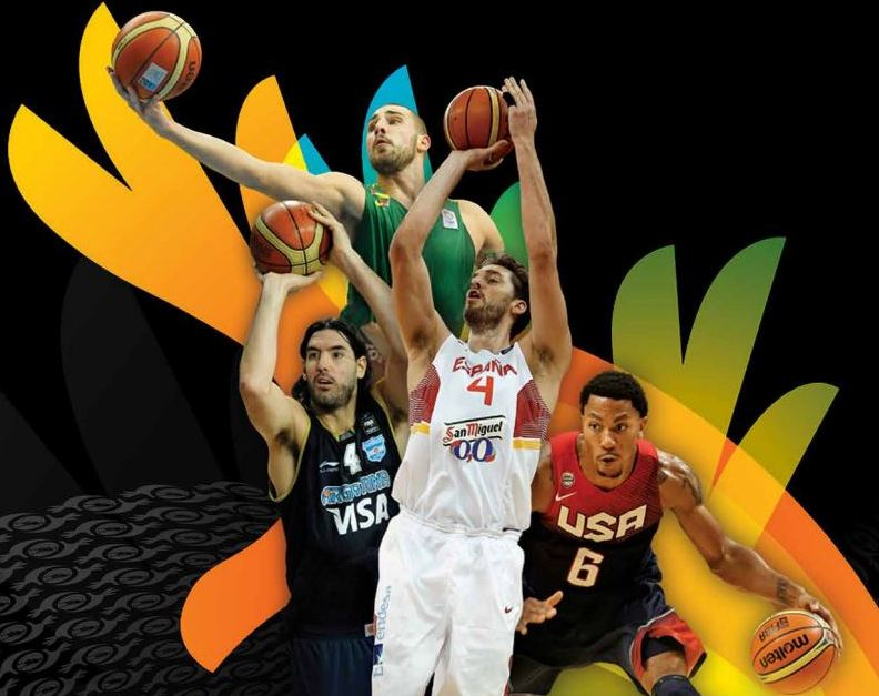 Parte de la Portada de la Media Guide de la FIBA Basketball World Cup (Mundial FIBA Masculino) de Spain 2014
