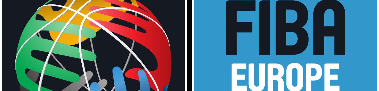 En esta imagen podemos ver parte del Logo de FIBA Europe, con su color azul definitorio de su continente, junto al de la FIBA en el que se representa el globo terráqueo y 5 manos de 5 colores, rojo, azul, verde, amarillo y gris, uno por continente, como si estuvieran agarrando el balón de baloncesto