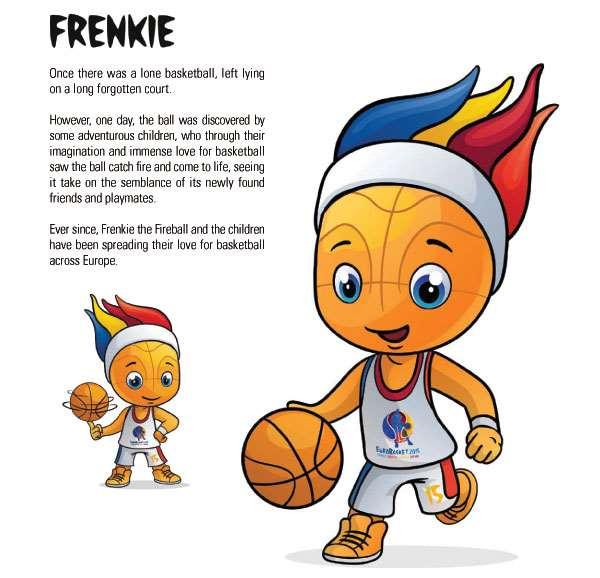 En esta imagen podemos ver a Frenkie, the Fireball, mascota del EuroBasket 2015 de FIBA Europe y su historia de presentación
