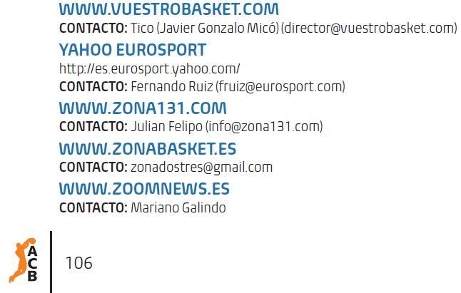 Recorte de la Página de la Guía de Medios 2014-2015 de la ACB en la que aparece vuestrobasket.com