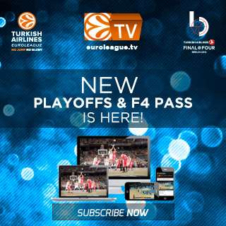 En esta imagen podemos ver el Logo de la Oferta del Playoffs and Final Four Pass (Pase para los Playoffs y la Final Four) del canal de televisión de la Euroliga para la temporada 2015-2016