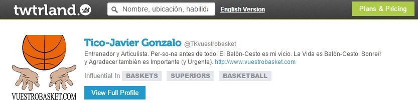 A través de este enlace podemos acceder al Perfil que twtrland.com dedica a vuestrobasket.com