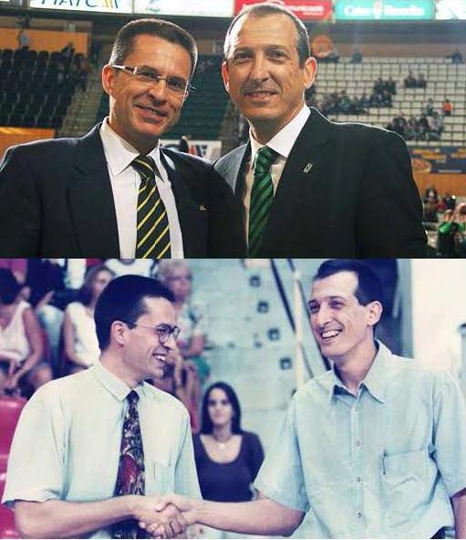 En esta foto podemos ver a Salva Maldonado junto a Pedro Martínez, con quien Debutó en la Liga ACB, siendo Entrenador Ayudante de este Último, en el Joventut, a pesar de ser Mayor que Pedro