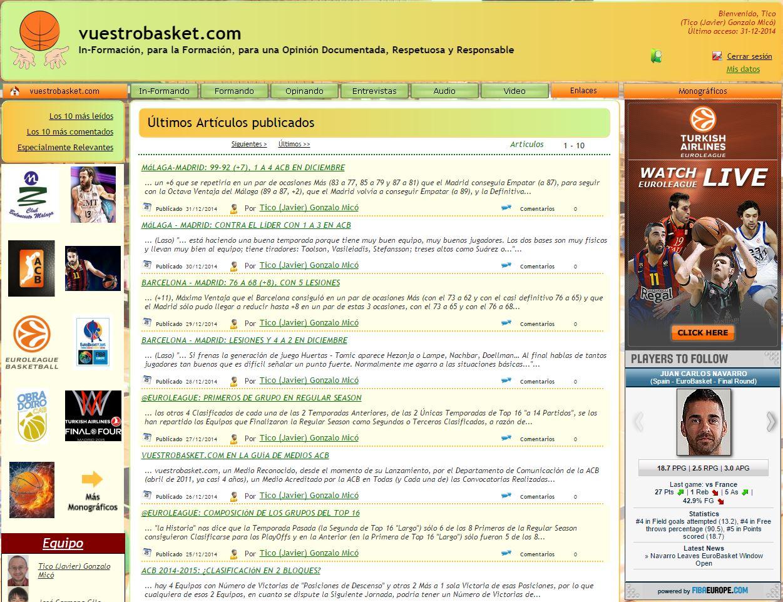 A través de este enlace podréis acceder al Archivo Histórico de vuestrobasket.com, a lo publicado desde su lanzamiento, en 2011, hasta el 31/12/2014
