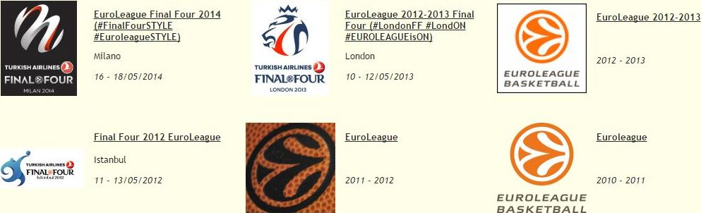 A través de este enlace podréis acceder a los Monográficos de la Antigua vuestrobasket.com relacionados con la EuroLeague: Regular Seasons, Tops 16, Playoffs y Finals For