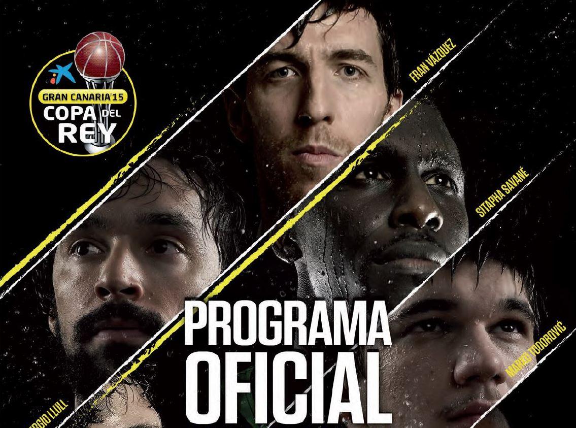 En esta imagen podemos ver la parte superior de la Portada del Programa Oficial de la Copa ACB 2015 de Gran Canaria
