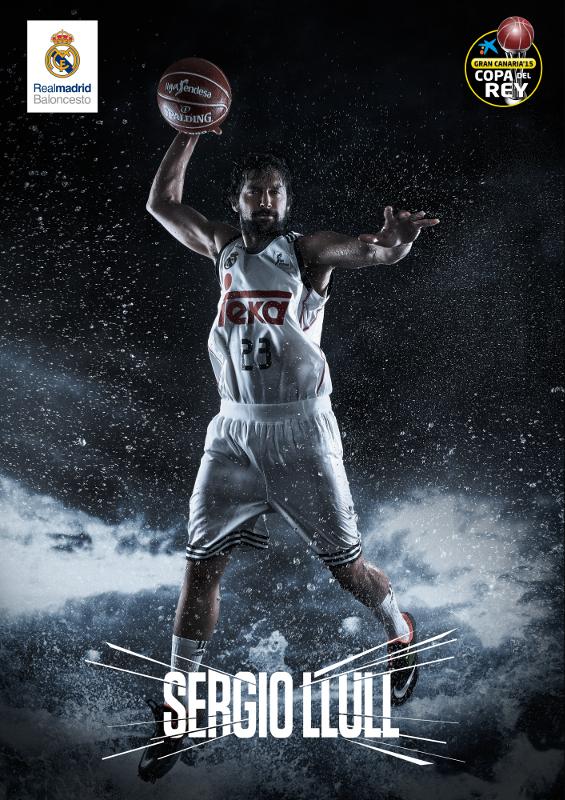 Cartel de la Copa de la ACB 2015 de Las Palmas de Gran Canaria correspondiente al Madrid. Se ha elegido a Sergio Llull para representar al Equipo
