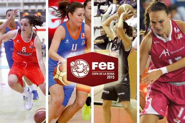 En esta imagen podemos ver a una Jugadora de cada uno de los 4 Equipos que van a disputar esta Copa de la Liga Femenina FEB 2015