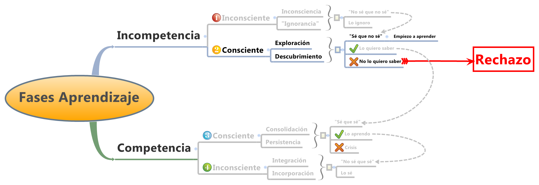 Evolución desde la Incompetencia Inconsciente a la Competencia Inconsciente, pasando por la Incompetencia Consciente, por la Competencia Consciente y por otras posibles situaciones (como el Rechazo, por ejemplo)