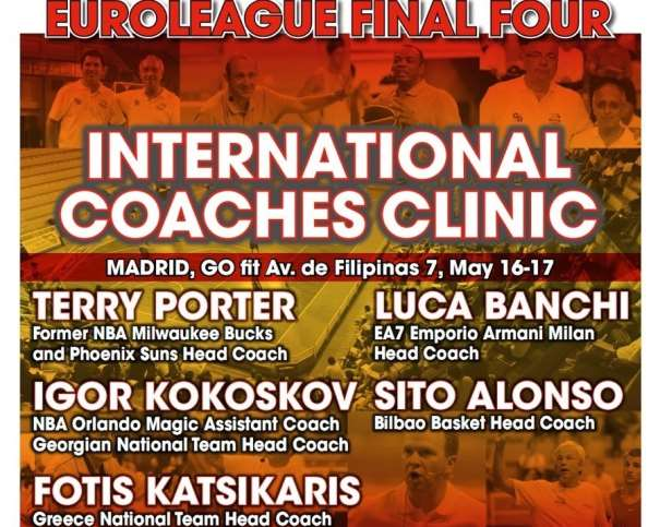 En esta imagen podemos ver los nombres de los Conferenciantes del International Euroleague Final Four 2015 de Madrid Coaches Clinic, con sus Principales Méritos
