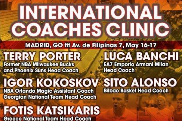 En esta imagen podemos ver los nombres de los Conferenciantes del International Euroleague Final Four 2015 de Madrid Coaches Clinic, parte de su Cartel, con los principales méritos de estos conferenciantes