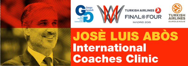En esta imagen podemos ver el Homenaje que la Organización del International Euroleague Final Four 2015 Coaches Clinic de Madrid le brindó a José Luis Abós