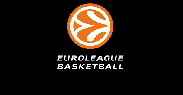 En eta imagen podemos ver el Logo de la Euroleague, sobre fondo negro, con la E de Euroleague simulando las líneas del balón de baloncesto