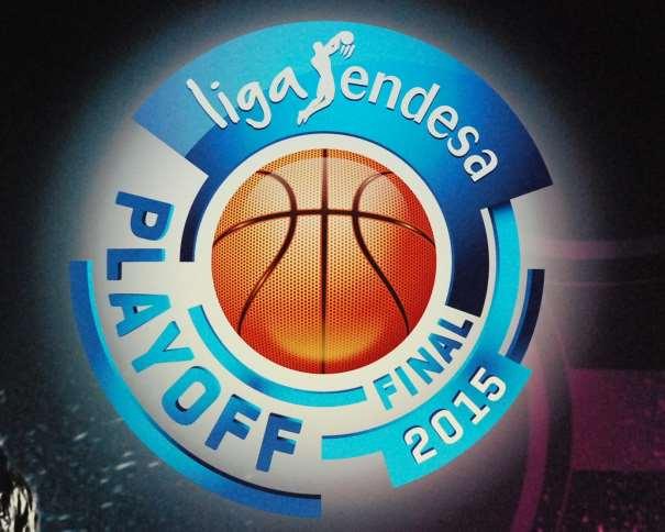 En esta foto, tomada por devuestrobasket, podemos ver el Logo del Playoff Final ACB 2015 integrado en el Photo Call habilitado para la Presentación de esta Final, Ayer, en el Palacio de los Deportes de la Comunidad Autónoma de Madrid, en Goya