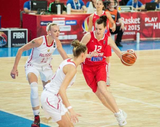 En esta foto podemos ver a Iva Sliskovic, Pívot croata, defendida por Irina Osipova, Pívot rusa, ante la atenta mirada, por si hiciera falta una ayuda Defensiva, de otra jugadora rusa, en el Primer Partido para ambas Selecciones del Eurobasket Femenino 2015 de Hungría y Rumanía, en Szombathely