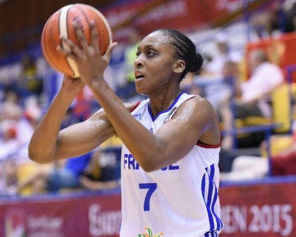 En esta foto podemos ver a la Jugadora francesa Sandrine Gruda, en una acción de tiro durante este EuroBasket Femenino 2015