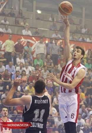 En esta foto podemos ver a Nemanja Dangubitch, Jugador del Estrella Roja, efectuando un lanzamiento (y demostrando una aplastante superioridad, muy por encima de su defendor) en la Final de la Liga Serbia, ante el Partizan, en la Sala Pionir