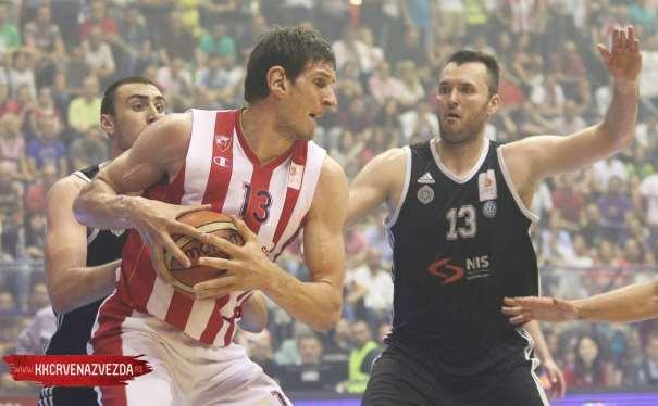 En esta foto podemos ver a Boban Marjanovitch, Jugador del Estrella Roja, defendido por , del Partizan, en la Final de la Liga Serbia, en la Sala Pionir