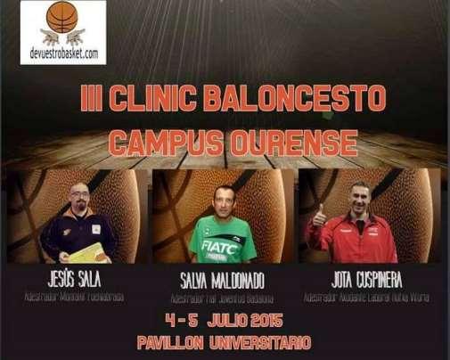 En esta imagen podemos ver un detalle del cartel del III Clinic Baloncesto Campus Ourense 2015, detalle en el que aparecen los 3 entrenadores conferenciantes, Salva Maldonado, Jota Cuspinera y Jesús Sala, además del logo de devuestrobasket, colaborador del Clínic