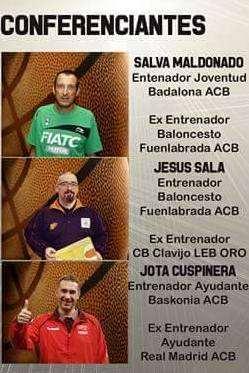 En esta imagen podemos ver un detalle del Tríptico del III Clinic Baloncesto Campus Ourense 2015, detalle en el que aparecen los 3 entrenadores conferenciantes, Salva Maldonado, Jota Cuspinera y Jesús Sala