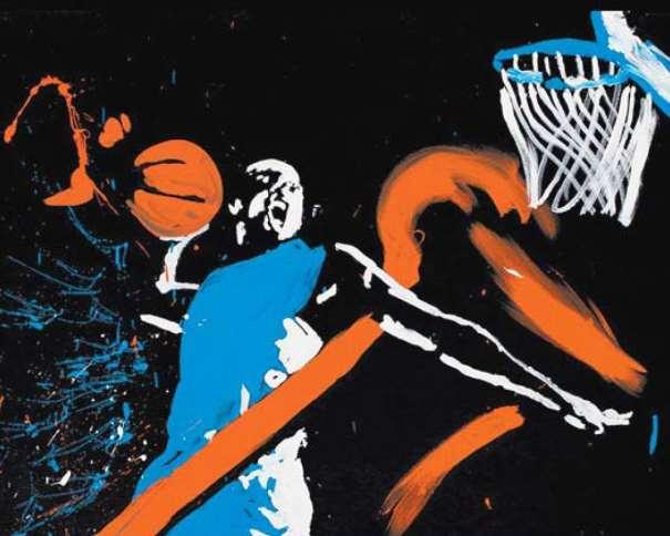 En esta imagen podemos ver un detalle del cuadro que pintó, en vivo, in situ, Quim Moya en la Presentación de la Temporada ACB 2014-2015