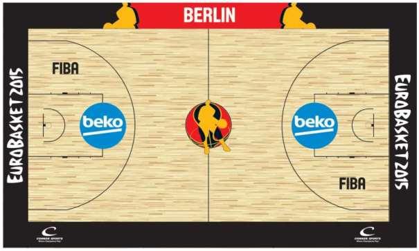 En esta imagen podemos ver el diseños de la pista de Berlín, sede del Grupo B del EuroBasket 2015