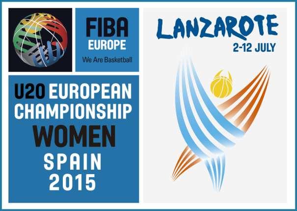 En esta imagen podemos ver el Logo Oficial del FIBA Europe U20 European Chamionship Women Spain 2015 que se está disputando, entre los días 2 y 12 de julio de 2015, en la isla de Lanzarote, en las localidades de Teguise y Tinajo