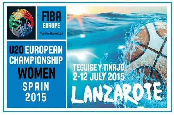 En esta imagen podemos ver el Logo del Europeo Femenino 2015 de FIBA Europe que se está disputando en la isla de Lanzarote, en las Localidades de Teguise y Tinajo