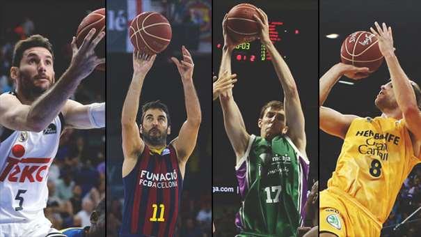 En esta foto, tomada de la web Oficial de la Liga ACB, podemos ver a un Jugador de cada uno de los 4 Equipos Participantes en la Supercopa ACB 2015 de Málaga, Rudy Fernández, del Madrid, Juan Carlos Navarro, del Barcelona, Fran Vázquez, del anfitrión Málaga, y Brad Newley, del Gran Canaria