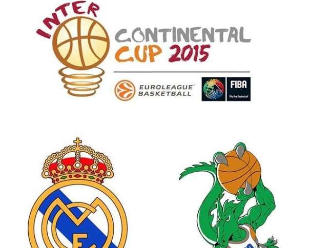 En este cartel Oficial de la Copa Intercontinental FIBA 2015 podemos ver el Logo Oficial y el escudo de ambos Equipos, el del Madrid y el del Bauru, dragón verde con balón en mano. dispuesto a hacer un mate