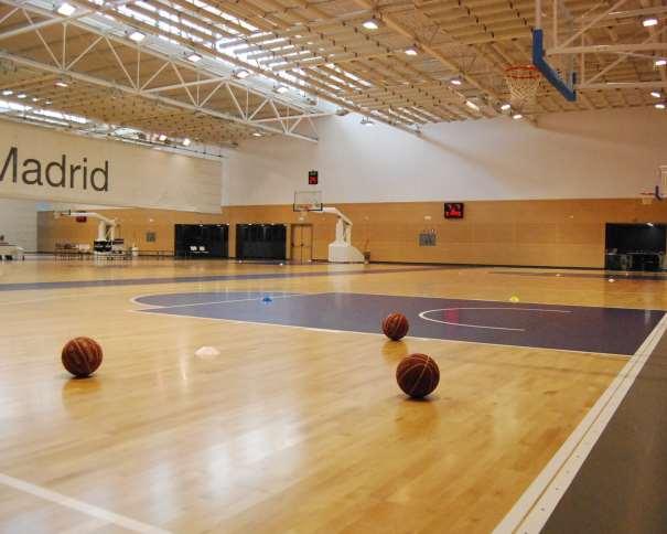 En esta foto podemos ver un pequeño Detalle del Pabellón de Entrenamiento del Equipo de Baloncesto ACB del Madrid, en la Ciudad Deportiva de Valdebebas: Múltiples pistas y 2 medias pistas, múltiples canastas, balones y conos, entre otros elementos de Ayuda para el entrenamiento