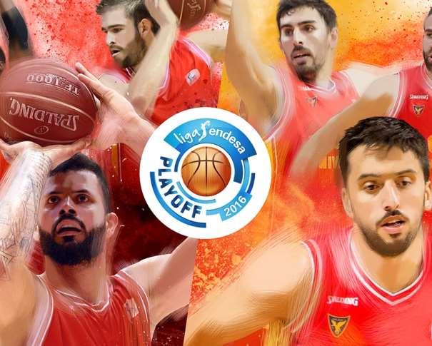 En esta imagen, junto al Logo de los Playoffs ACB 2016, podemos ver a Facundo Campazzo, a José Angel Antelo, a Vitor Faverani, a Némaña Radovitch y a Carlos Cabezas