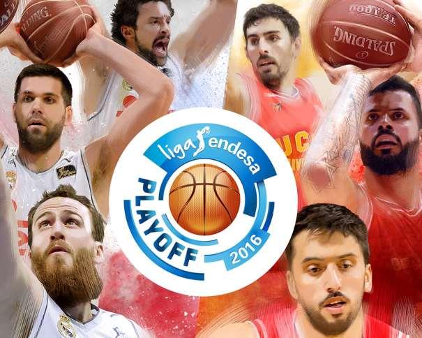 En esta imagen, junto al Logo de los Playoffs ACB 2016, podemos ver a Facundo Campazzo, a Sergio Llull, aSergio Rodríguez y a José Ángel Antelo, además de a Felipe Ryees y a Vitor Faverani