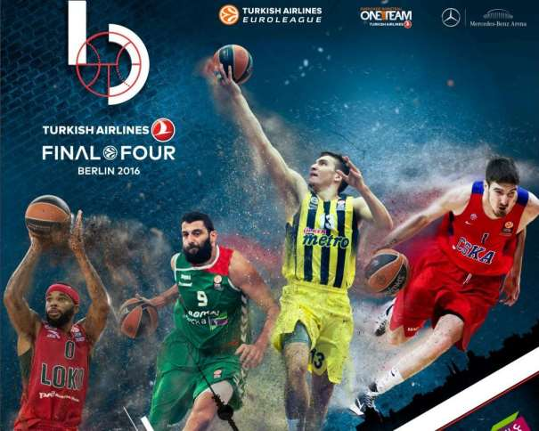 En esta foto podemos ver a un Jugador de cada uno de los 4 Equipos que disputarán la Final Four de la Euroliga en Berlín, además del Logo de esta Final Four
