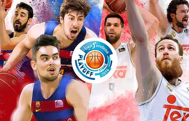 En esta imagen, junto al Logo de los Playoffs ACB 2016, podemos ver a Tomash Satoranskii, a Ante Tomitch, a Juan Carlos Navarro, a Sergio Rodríguez, a Felipe Reyes y a Sergio Llull, 6 Jugadores que disputan la Final de los Playoffs de la Liga ACB 2015-2016, 3 del Barcelona y 3 del Madrid