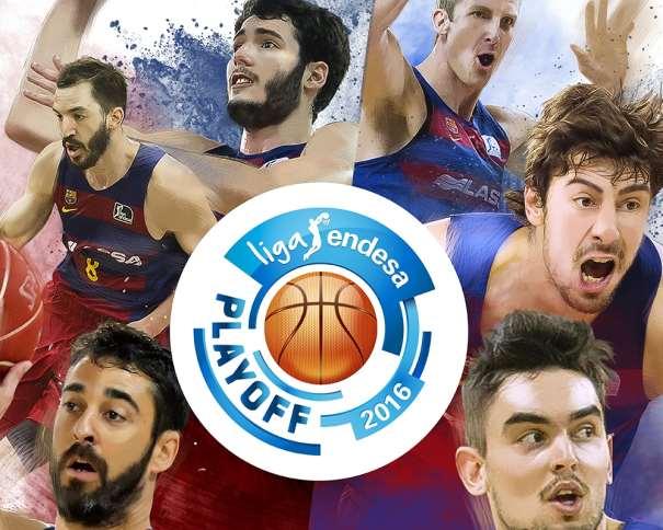 En esta imagen podemos ver a Juan Carlos Navarro, a Tomaash Satoranskii, a Ante Tomitch, a Pau Ribas, a Àlex Abrines y a Justin Doellman junto al Logo de los Playoffs de la Liga ACB 2015-2016