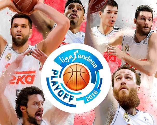 """En esta imagen podemos ver a Sergio Llull, a Sergio Rodríguez (""""Chacho""""), a Felipe Reyes, a Rudy Fernández, a Gustavo Ayón y a Vily Hernangómez junto al Logo de los Playoffs de la Liga ACB 2015-2016"""