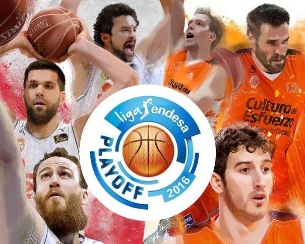 En esta imagen, junto al Logo de los Playoffs ACB 2016, podemos ver a Sergio Llull, a Justin Hamilton, a Sergio Rodríguez, a Felipe Reyes, a Fernando San Emeterio y (a Guillem Vives, 6 Jugadores que disputarán la Primera Semifinal de los Playoffs de la Liga ACB 2015-2016, 3 del Madrid y 3 del Valènsia