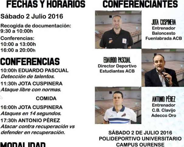 En esta imagen podemos ver parte del Tríptico del IV Clínic Baloncesto Campus Ourense 2016, con las fotos de los 3 Conferenciantes