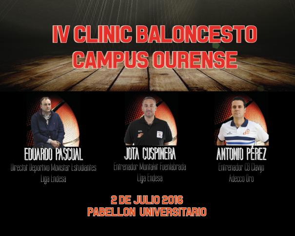 En esta imagen podemos ver un detalle del Cartel del IV Clínic Baloncesto Campus Ourense 2016, con las fotos de los 3 Conferenciantes