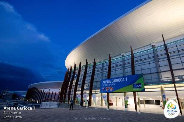 """En esta imagen podemos ver uno de los accesos al Carioca 1, """"el nuevo Hogar del Baloncesto Olímpico"""". A continuación de éste, se pueden ver el Carioca 2 y el 3, sedes de otros Deportes"""