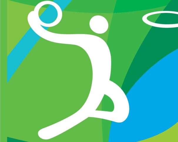 En esta imagen podemos ver el Pictograma de Baloncesto de los Juegos Olímpicos de Río 2016, representando a un Jugador, con el balón en su mano derecha, a puntito de hacer un mate, con la cabeza a la altura del aro