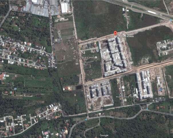"""En esta imagen podemos ver el aspecto satélite que presenta Google Maps de las Villas de Prensa 1 y 2 """"de Barra"""", en el barrio de Recreio dos Bandeirantes. También se puede ver todo el espacio """"vacío"""" que hay a su alrededor"""