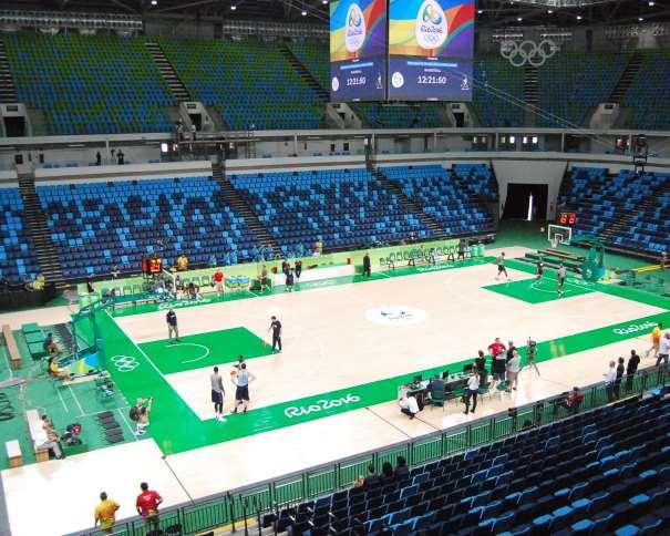 En esta foto podemos ver un momento del Entrenamiento del día Previo a la Inauguración de los Juegos Olímpicos de Río en el Pabellón Carioca 1 Arena, en el que disputarán sus 8 Partidos de estos Juegos Olímpicos