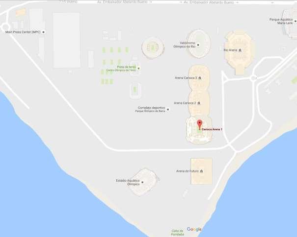 En esta imagen podemos ver el aspecto esquemático que ofrece Google Maps del Parque Olímpico de Barra, del MPC y del Carioca Arena 1