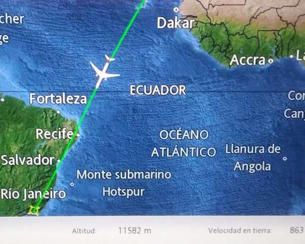 En esta foto se puede ver el momento en el que estábamos a puntito de cruzar el Ecuador, en nuestro viaje a los Juegos Olímpicos de Río 2016