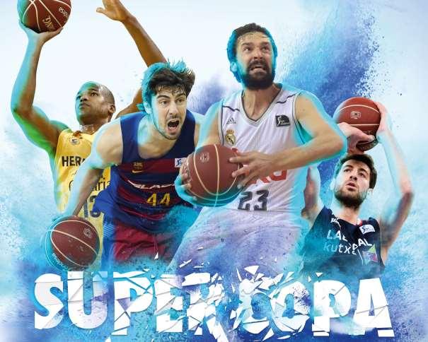 En esta imagen podemos ver a un Jugador por cada uno de los 4 Equipos que disputarán la Suercopa ACB 2016 de Vitoria-Gasteis, Sergio Llull (Madrid), Ante Tomitch (Barcelona, Andrea Barñani (Baskonia) y Eulis Báez (Gran Canaria)