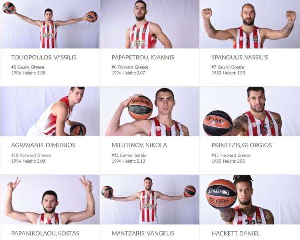 En esta imagen podemos ver a 9 e los 15 Jugadores del Olympiacós , Vassilis Spanoulis, Giorgos Printezis, Kostas Papanikolaou, Daniel Hackett y Vangelis Mantzaris entre ellos