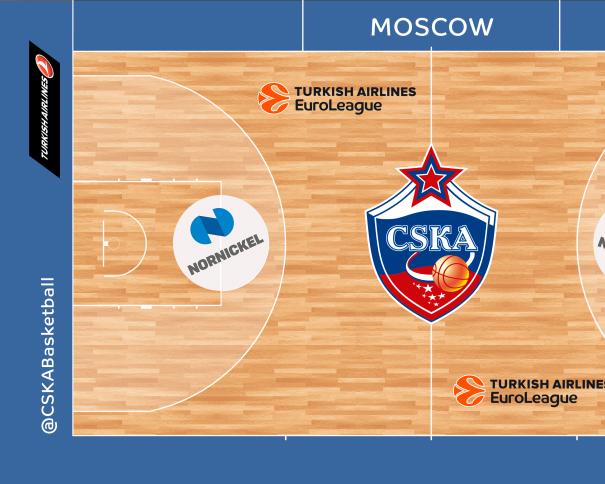 """En esta imagen podemos ver cómo será la pista del TsSKA durante los Partidos de la Euroliga 2016-2017, el color azul de su borde exterior y el escudo """"plano"""", en 2D de su círculo central, entre otros detalles"""
